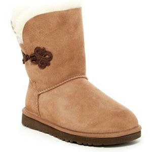 UGG MARIKO SUEDE SHEARLING BOOTS NEW CHESTNUT